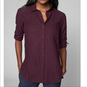Athleta Heat Gen Flannel Purple Button Down Small